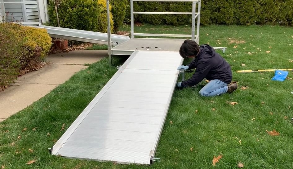 Lifeway certified technician installing wheelchair ramp