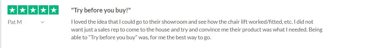 review about Lifeway Mobility stairlift showroom in Chicago suburb