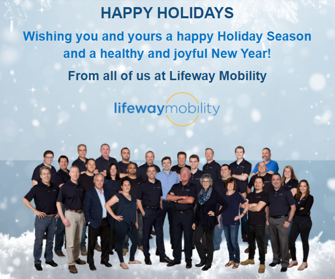 happy holidays from Lifeway mobility - team holiday photo