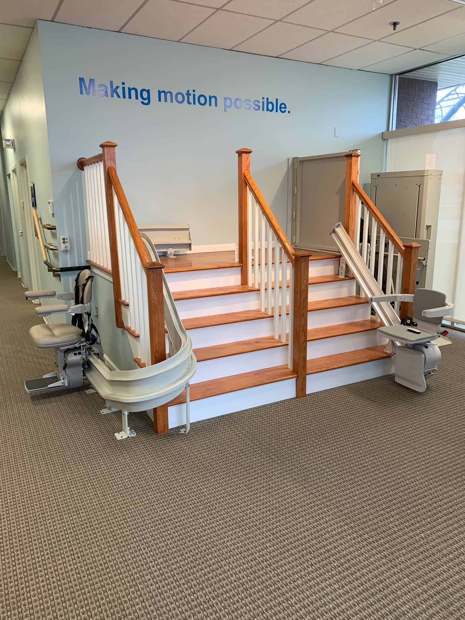 Bruno straight rail stair lifts in Lifeway showroom in Connecticut