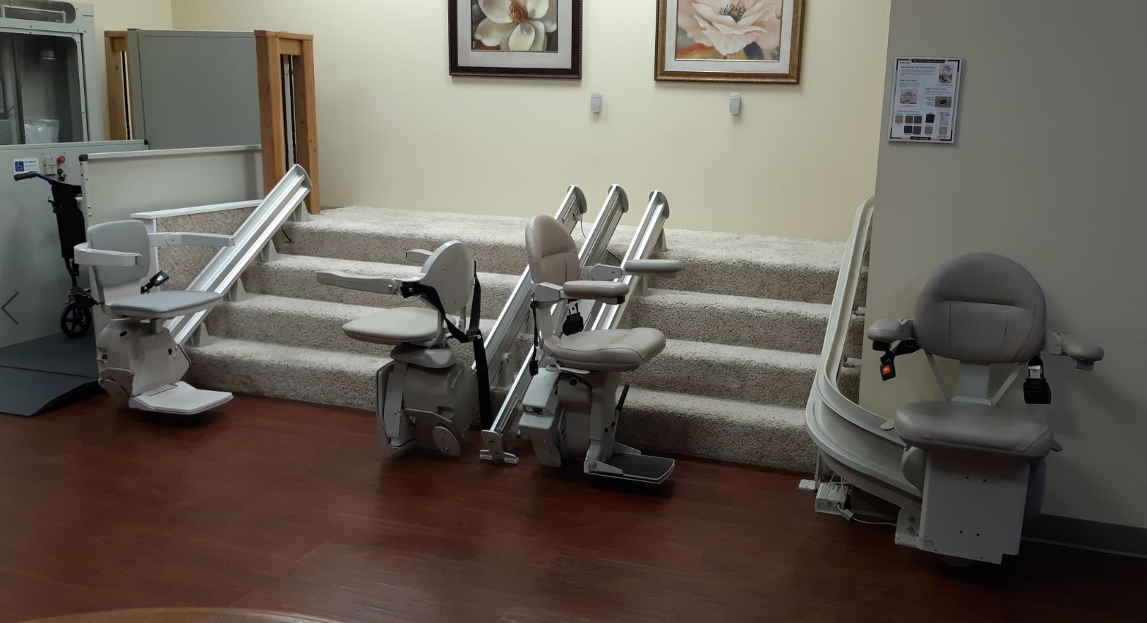 stair lifts in Lifeway Mobility showroom in Arlington Heights, Illinois