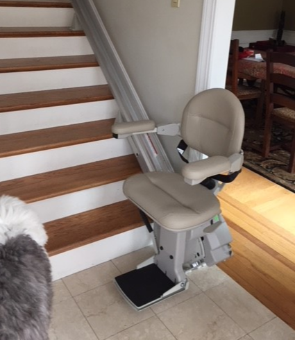 stair lift installed by Lifeway Mobility in home in Massachusetts