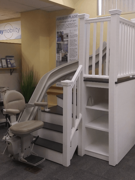 curved rail stair lift in Lifeway Mobility showroom in Massachusetts