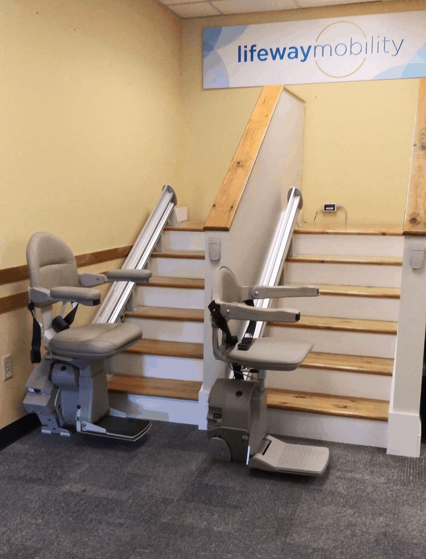 Bruno straight rail stair lifts in Lifeway MA Showroom