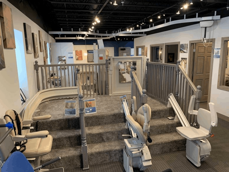 stair lifts in Lifeway Mobility's showroom in Minneapolis-St. Paul region