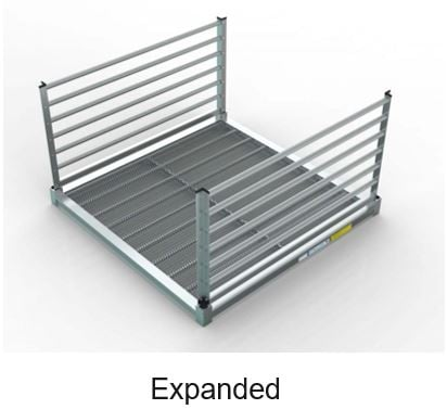 piece of aluminum ramp that has an expanded metal surface