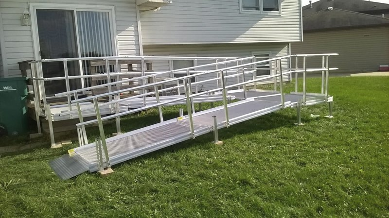 aluminum modular ramp installed in backyard of home in Joliet, IL to provide home access