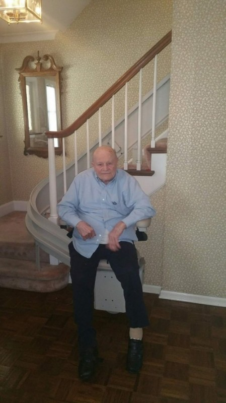 Bruno Elite curved stair lift installed for a US veteran