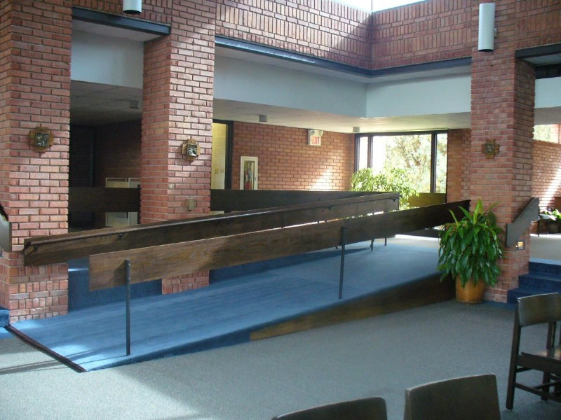 wheelchair ramp installed inside church in Illinois
