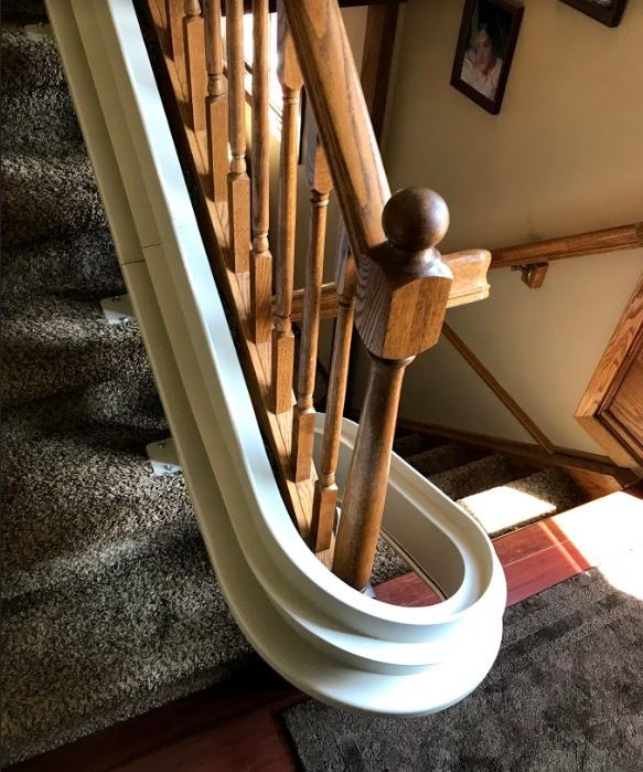 Bruno-curved-stairlift-rail-with-180-degree-turn.JPG