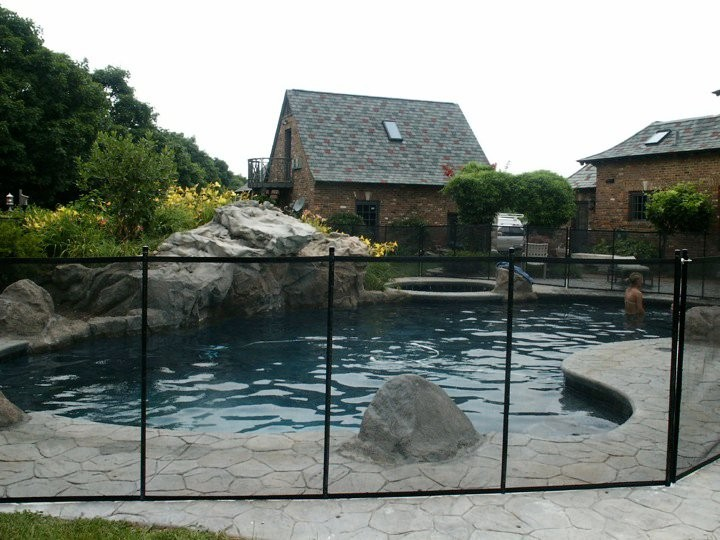 Client Using Cottage Pool Fence in backyard of Indiana home