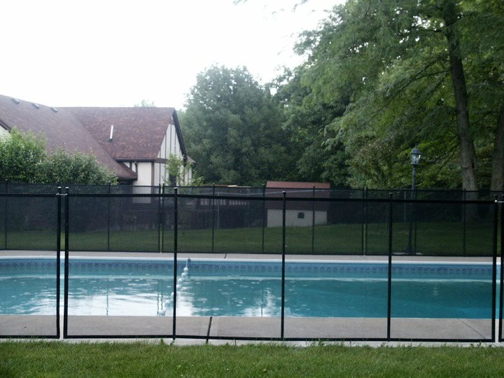 Family Home Pool Fence in Indiana backyard, Side View