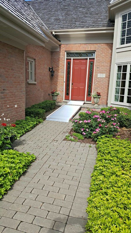 Aluminum wheelchair ramp installed in Lake Zurich, IL