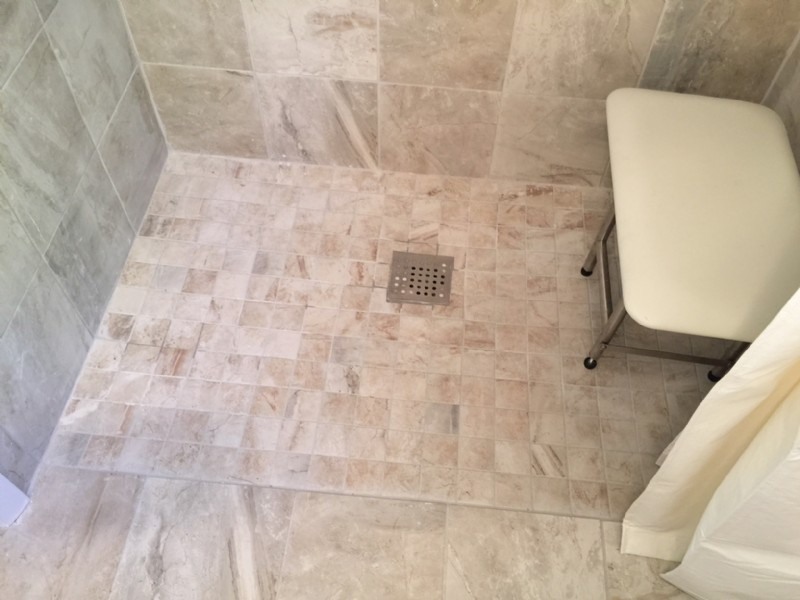 Tiled floor of a barrier-free shower in home in Indiana