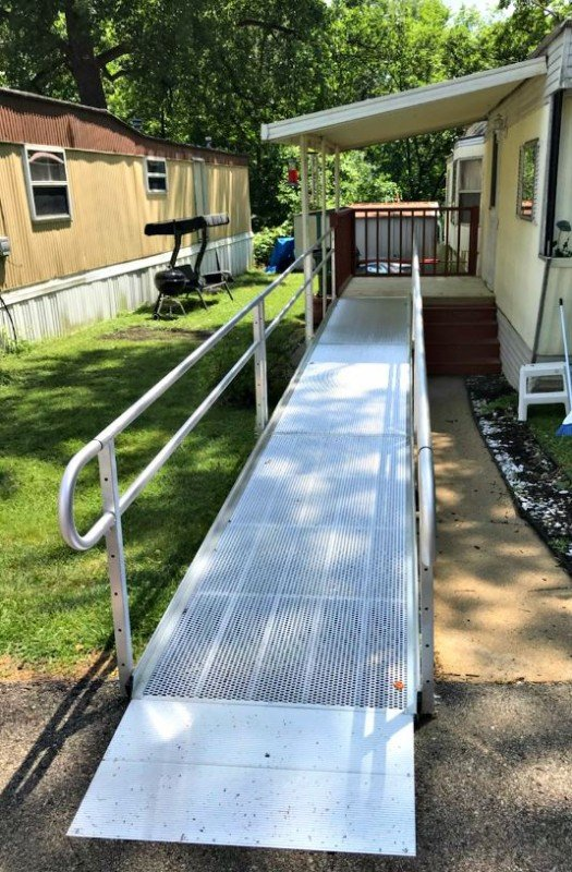 Aluminum wheelchair ramp installed in Aurora, IL