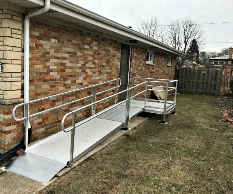 Aluminum wheelchair ramp installed in Morton Grove, IL