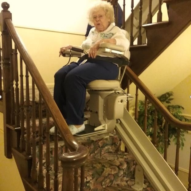 Bruno Elite curved stair lift installed by EHLS in local home in Chicago