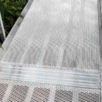Close-up of aluminum wheelchair ramp expanded metal surface option