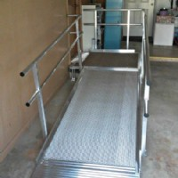Modular residential wheelchair ramp in garage in Wheeling, Illinois