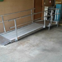 Modular wheelchair ramp in garage in Wheeling, IL home