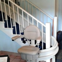Bruno Elite curved stair lift installed for a veteran in Chicago, IL