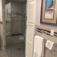 Barrier-free shower with glass doors in Indiana home