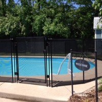 Protect A Child mesh pool fence in backyard of Indianapolis home