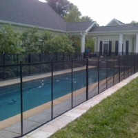 Protect A Child mesh pool fence around thin pool & hot tub
