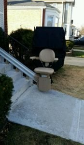 An outdoor stair lift that was installed in Chicago, Illinois, by EHLS