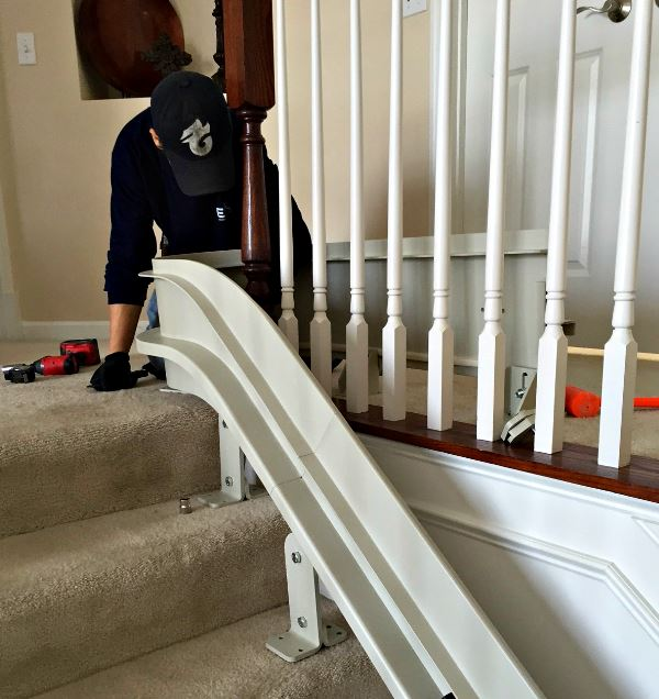 Image of an EHLS Tech installing a stair lift in Barrington, IL