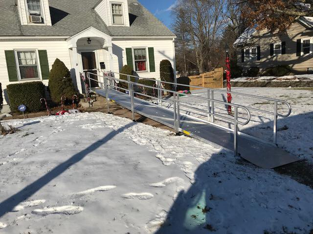 Ramp in snow installed by Lifeway Mobility during holiday season